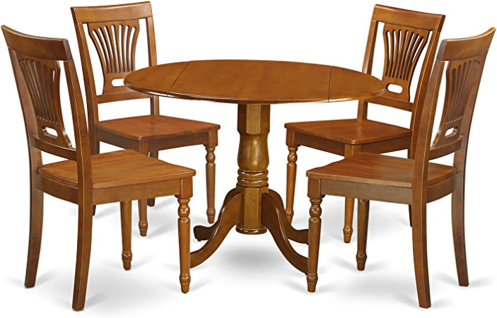 DLPL5-SBR-W 5 Pc Kitchen nook Dining set-small Kitchen Table and 4 Dining  Chairs