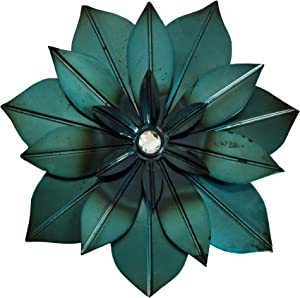 Picfarce Metal Flower Wall Art Decor, 12 inch Distressed Modern Floral Sculpture, Rustic Hanging Decoration Home Accent Artworks for Indoor Outdoor Bedroom Living Room Office Garden Patio