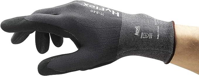 industriales y mec/ánicos Ansell HyFlex 11-840 color gris negro Guantes de trabajo vers/átiles resistentes a la abrasi/ón talla 7