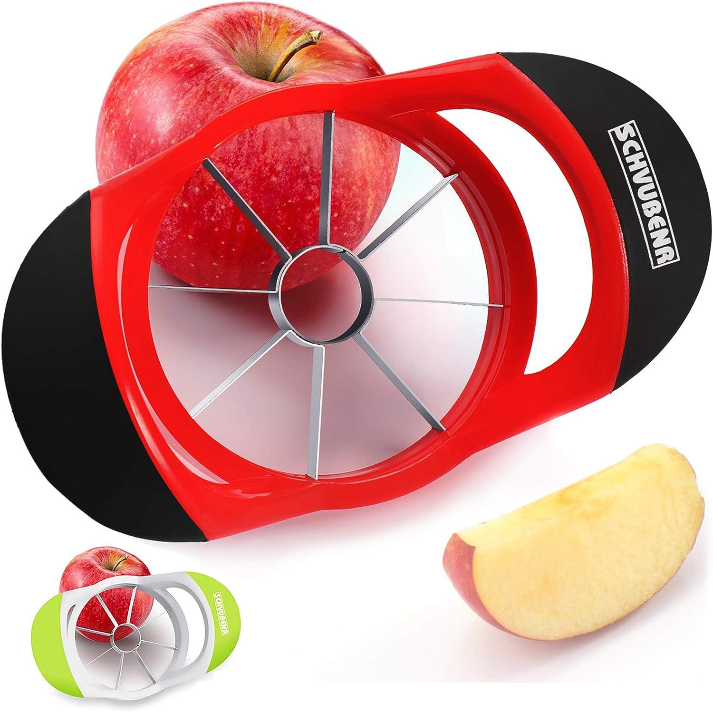 SCHVUBENR 3.5 Inch Apple Slicer - Professional Apple Cutter - Stainless Steel Apple Corer - Super Sharp Apple Slicer and Corer - Apple Corer Tool with 8 Sharp Blades(Red)…