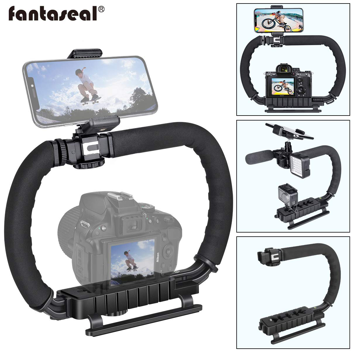DSLR/Mirrorless/Action Camera Camcorder Phone Stabilizer 3-Shoe 2-Handed Vlog Video Holder Rig Low Position Shooting Steadycam Mount Detachable Grip Fit for GoPro Sony Canon Nikon DV iPhone Samsung by fantaseal