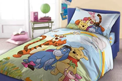 Copripiumino Singolo Winnie The Pooh.Winnie The Pooh Disney Copripiumino Cotone 160x200 Cm Federa 70x80