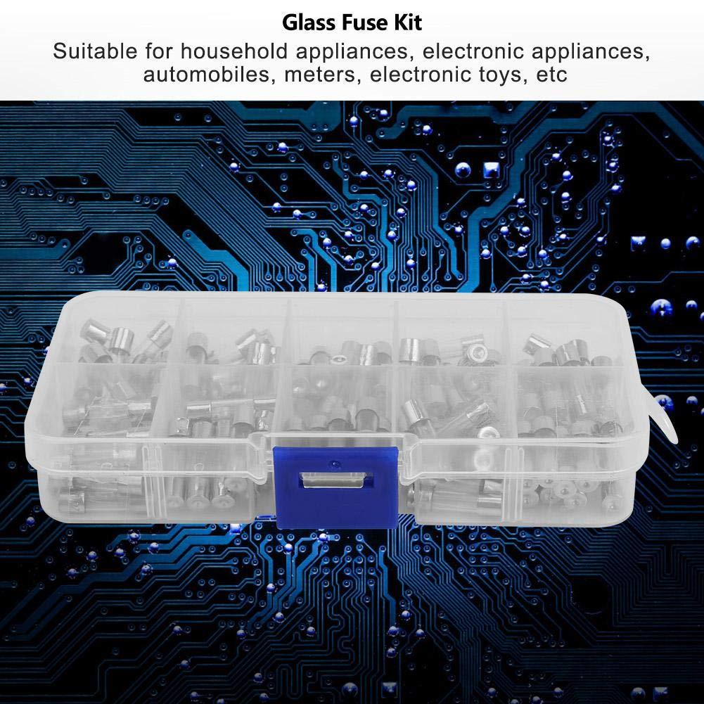 Nitrip 100Pcs 0-250V Universale 5 20mm Fusibile per tubi in vetro Kit Accessori Set 0.2A-20A