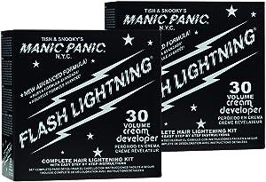Manic Panic Flash Lightning Hair Bleach Kit (2-Pack) 30 Volume Cream Developer, Hair Lightener Kit for Light, Medium Or Dark Brown & Black Hair Color, Hair Bleach Powder Lifts Up To 5 Levels