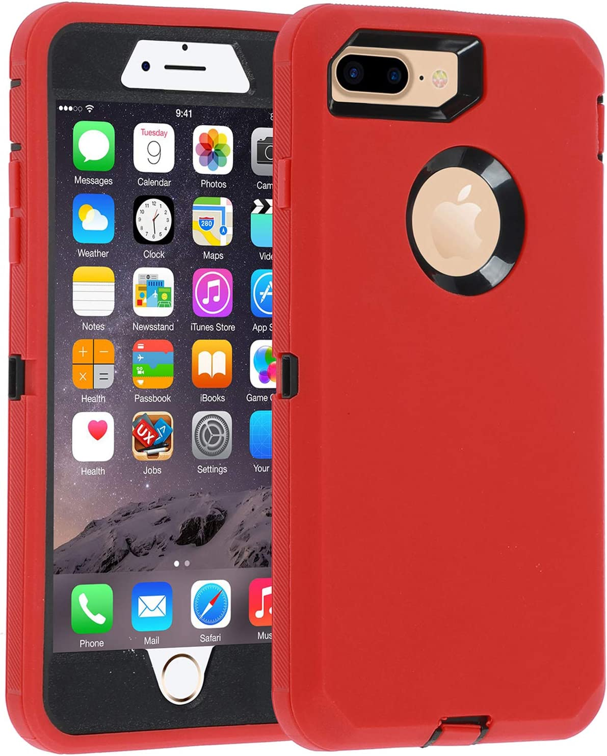Co-Goldguard Case for iPhone 7 Plus/8 Plus Heavy Duty 3 in 1 Built-in Screen Protector Durable Cover Dust-Proof Shockproof Scratch-Resistant Shell Compatible with iPhone 7+/8+ 5.5,Red&Black