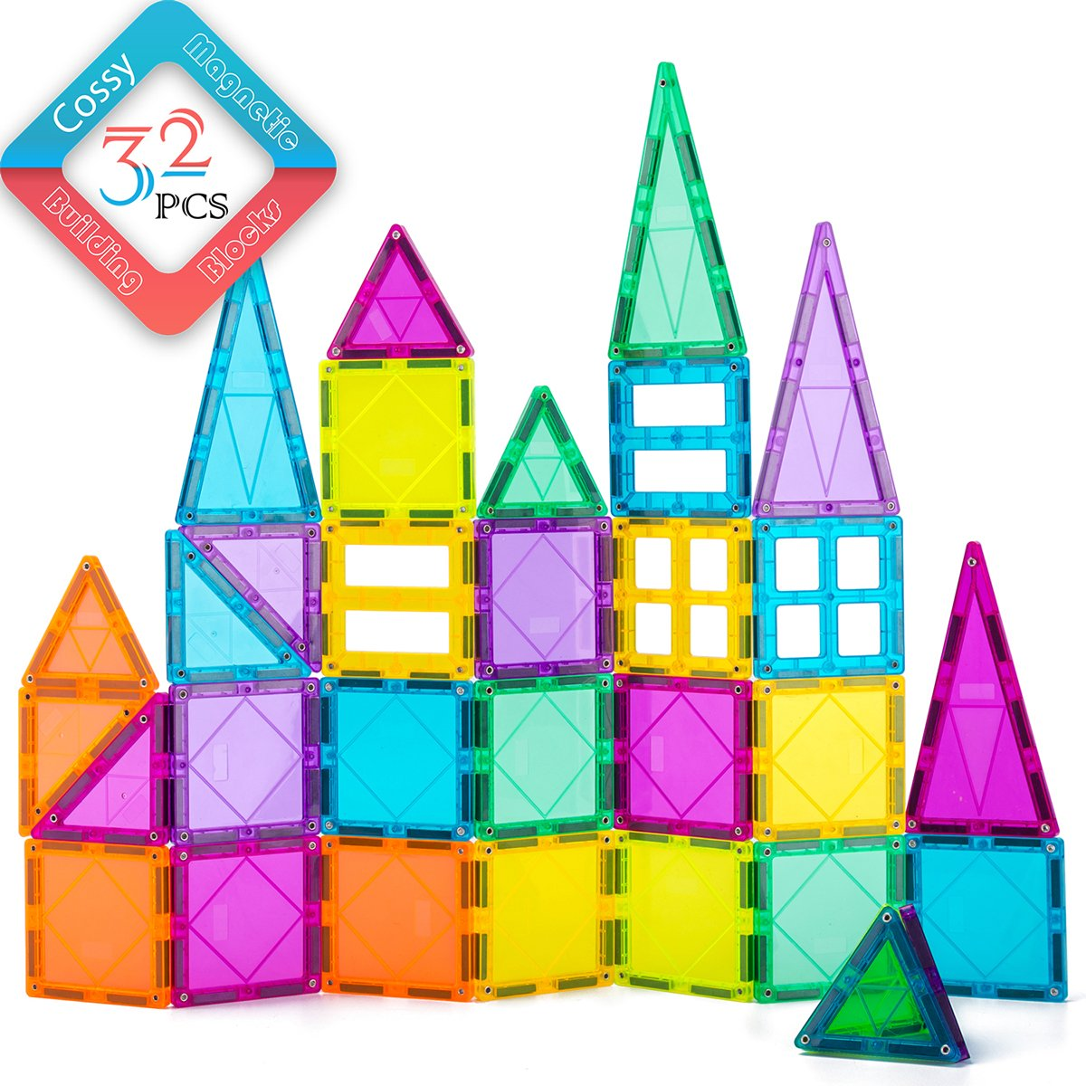 cossy 32Pcs Magnet Tiles Magnetic 3D Building Blocks Set Educational Construction Toys for 3+ Year Kids with Stronger Magnets, Rivets-Fastened, Inspirational, Recreational, Educational, Conventional