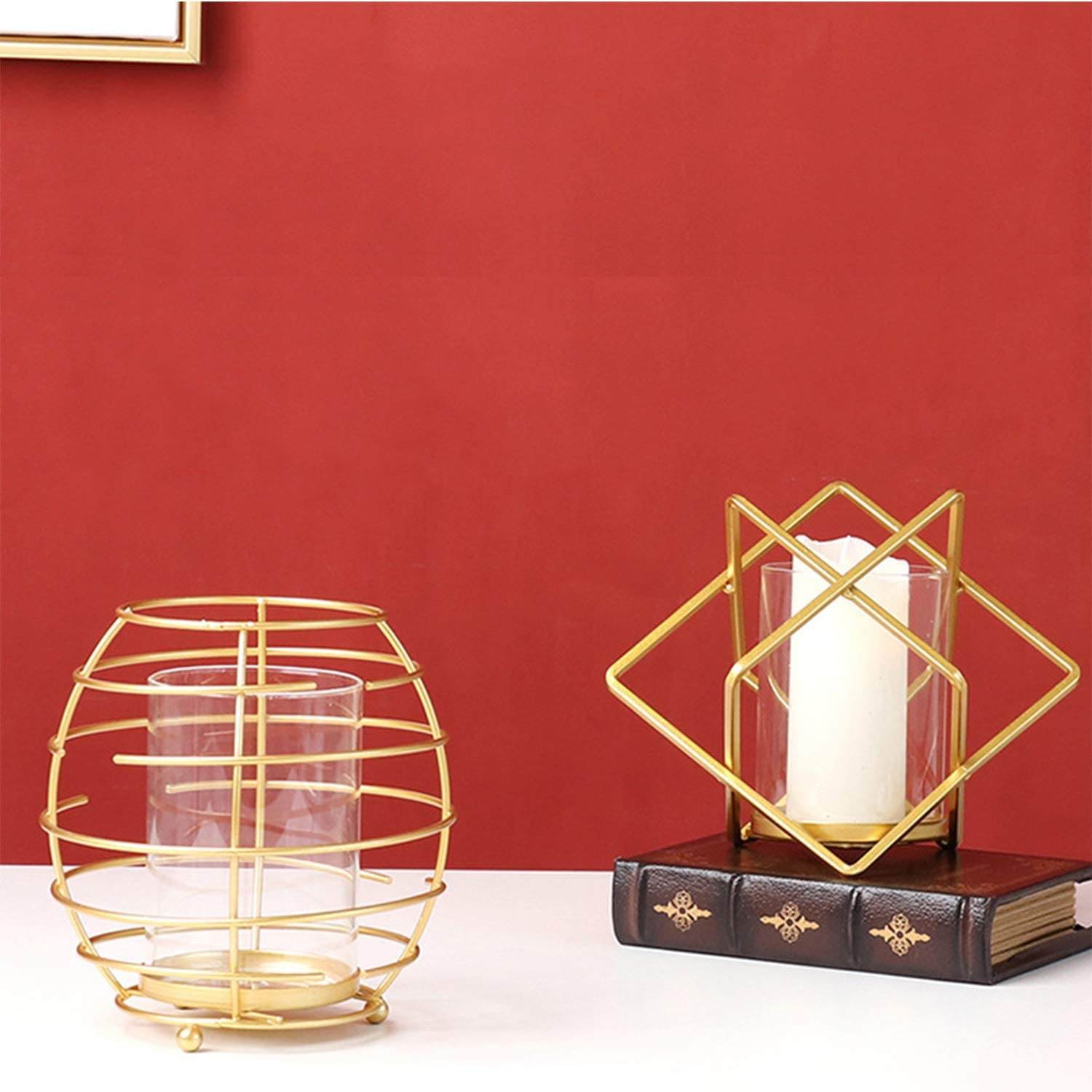 Gold Topotdor Geometric Candlestick Holders Set of 2,Gold Metal Creative Candle Holders for Romantic Wedding,Table Decor,Parties and Gifts