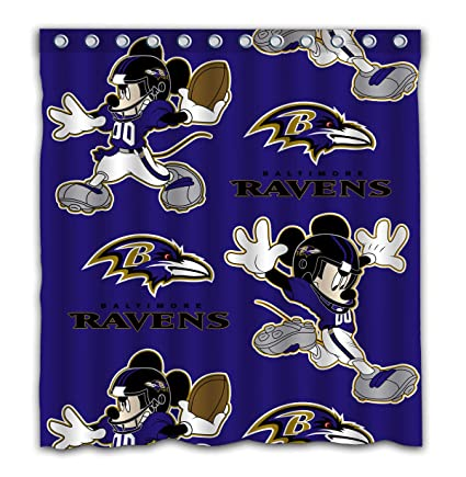 Jeffredy Baltimore Ravens Shower Curtain Funny Mouse Unique Design Waterproof Mildew Proof Fabtic Bathroom Decor