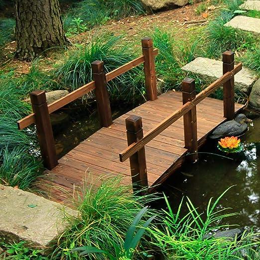 Puente De JardíN para Estanque, Puente De Paisaje De Madera Carbonizada, Puente De Arco PequeñO De 150 CM Puente Decorativo para Patio Interior con BalcóN Al Aire Libre: Amazon.es: Jardín