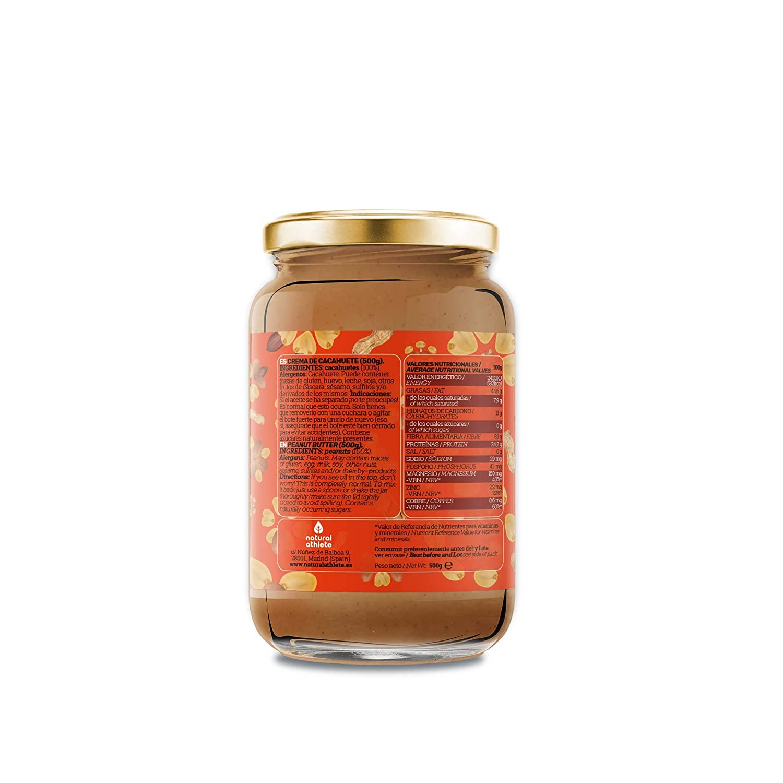 Crema de cacahuete -Natural Athlete- 100% Solo cacahuetes - 100% natural, sin azúcar añadido. 500gr: Amazon.es: Alimentación y bebidas