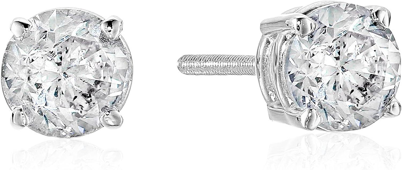 The Diamond Channel 1 cttw Diamond Stud Earrings for Women - AGS Certified Real Diamond Earring Pair with Screw Back & Post Studs - 14K Gold Diamond Studs - Fine Jewelry for Women & Men