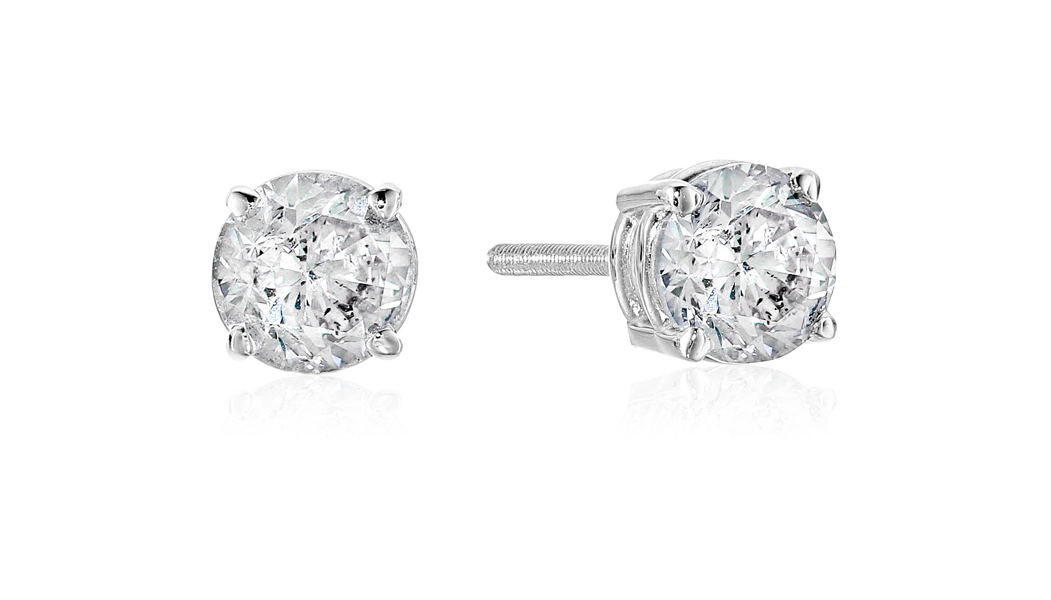 14k White Gold Diamond with Screw Back and Post Stud Earrings (1cttw, J-K Color, I2-I3 Clarity)