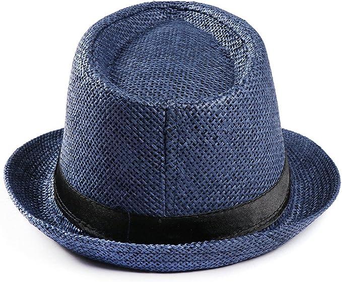 FALETO Chapeau de Paille de Soleil Femme Panama Capeline Classique d/Ét/é Anti UV Plage Loisirs Voyage Lady Jazz Hat