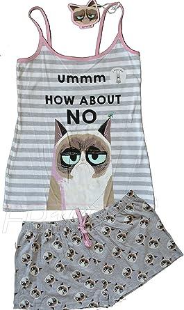PRIMARK GRUMPY CAT - Pijama - para Mujer Gris Gris L: Amazon ...