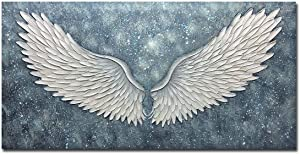 Boiee Art,24x48inch 100% Hand Painted Abstract Angel Wings Canvas Paintings Modern Artwork Texture Grey Blue Oil Painting Home Decor Art Wood Inside Framed Ready to Hang for Dining Room Hallway