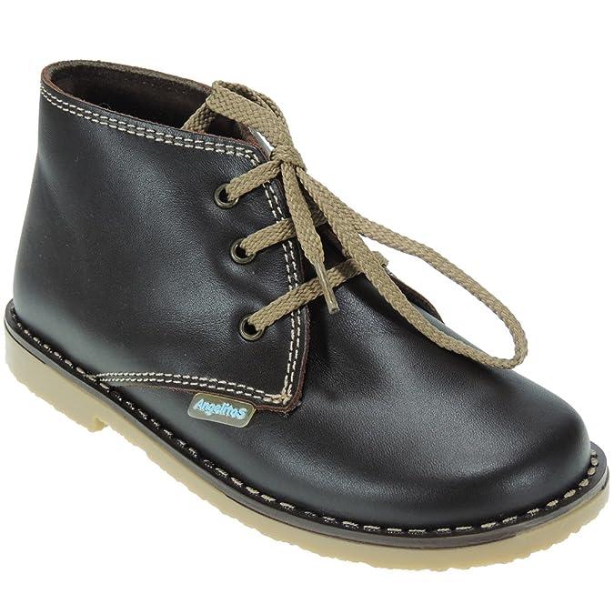 Bota Safari Piel con Cordones Marca Angelitos para Niños - Modelo 86: Amazon.es: Zapatos y complementos