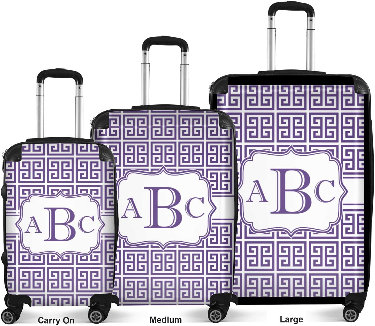 24Medium Checked Personalized Greek Key Suitcase