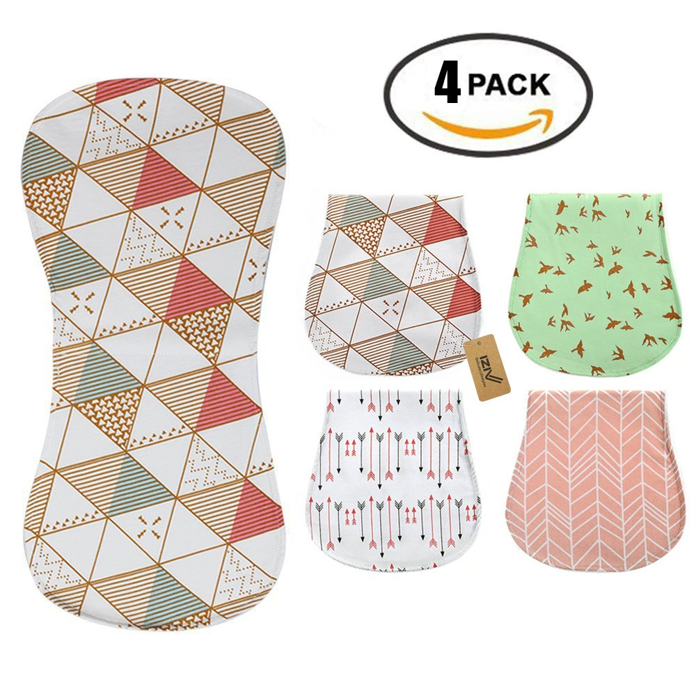 iZiv 4 PACK Baby Burp Cloths Feeding Nursing Towel Accessory, 3 Layers Absorbent Printing Soft Cotton 0-2 Years(Color-5) Dlife FHWNJ05