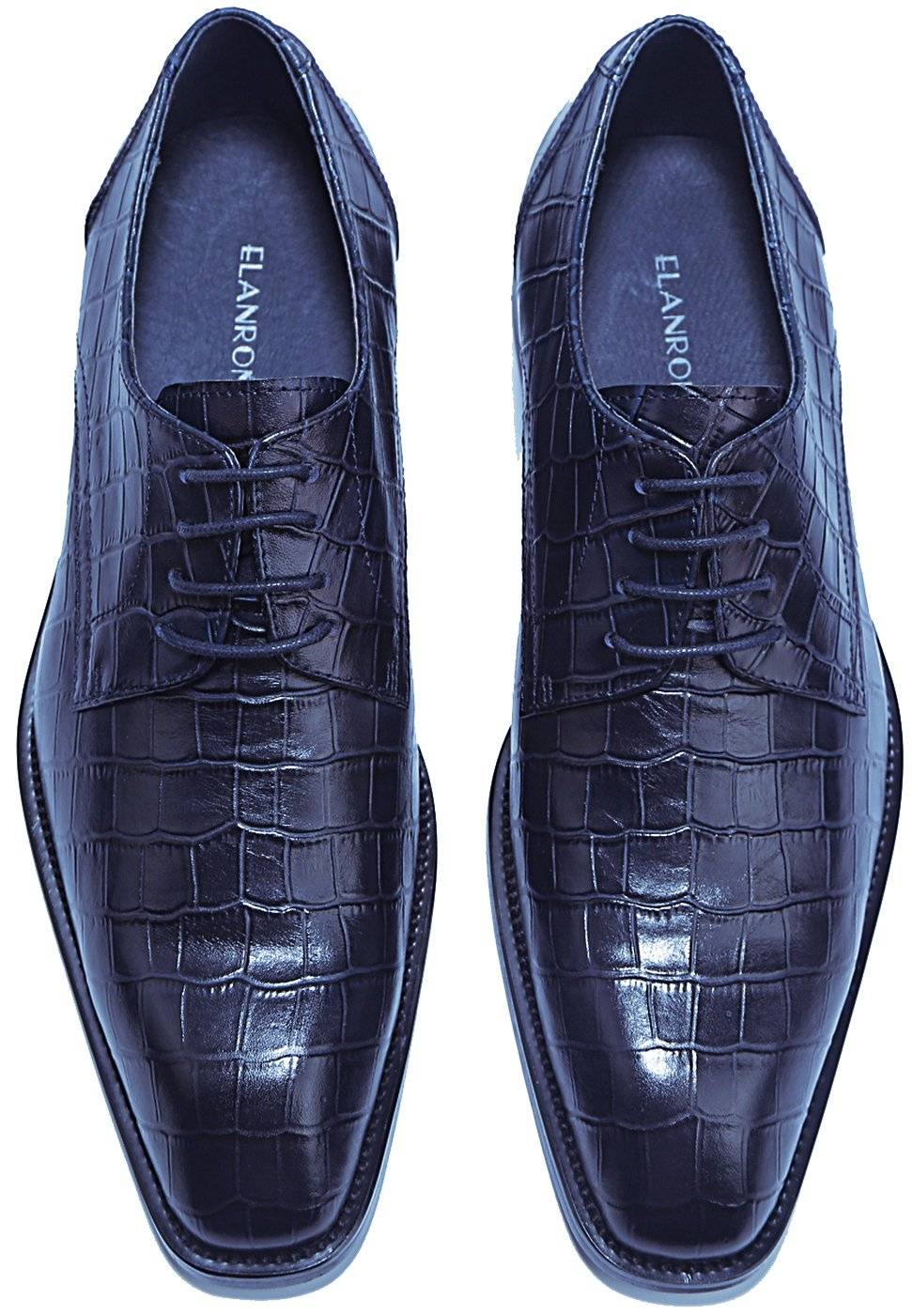 ELANROMAN Crocodile Pattern Leather Shoes Men's Oxford Luxury Dress Shoes Embossed Leather Shoes Navy US 13 EUR 47 Foot Length 329.30mm