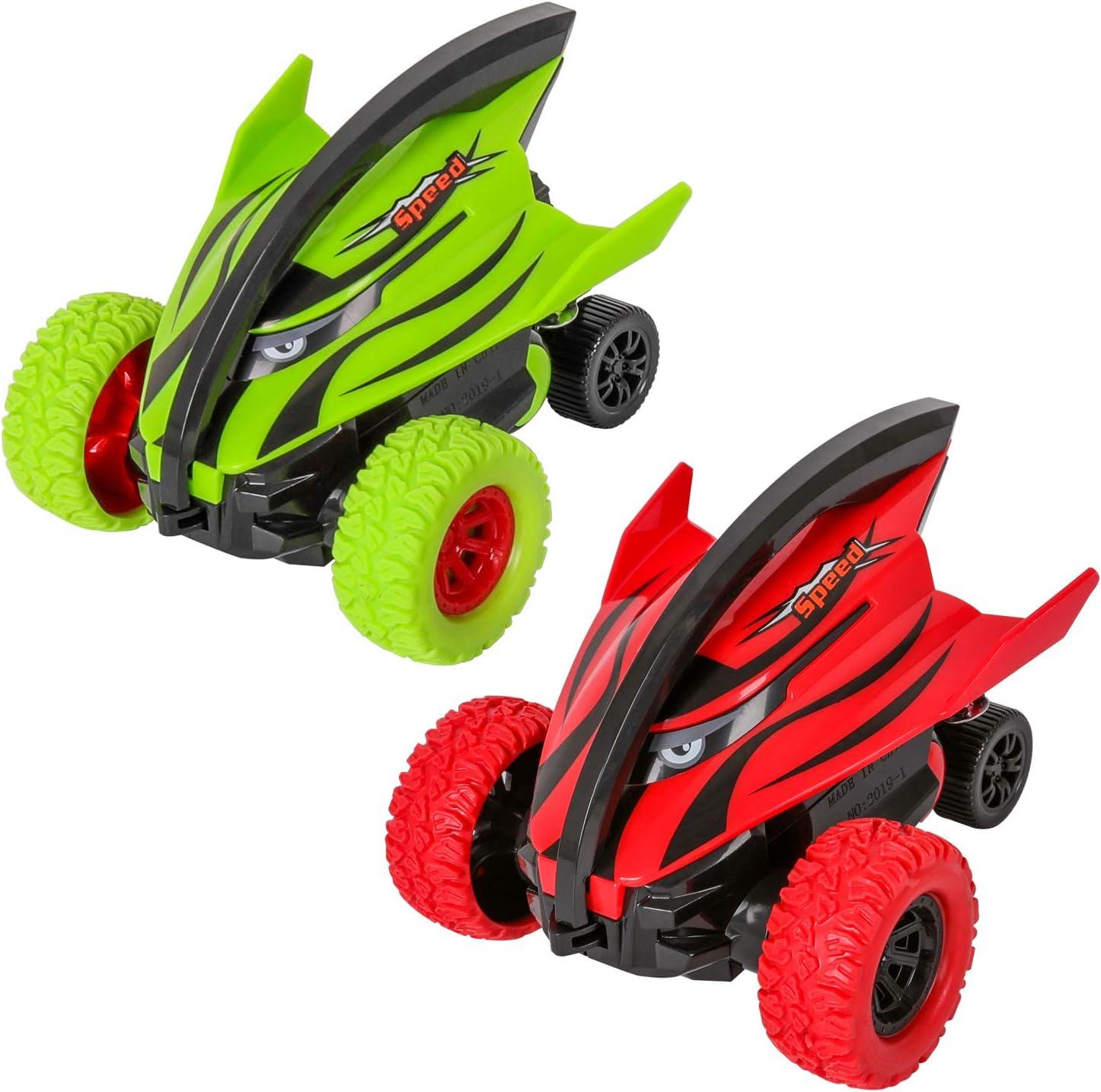 m zimoon Coche Monstruo Camión Coches Inerciales Vehículos de Pull Back Juguetes Rotación de 360 Grados Tiburón Vehículos de Carreras Todoterreno para Niños Niñas (2 Piezas, Rojo Verde)