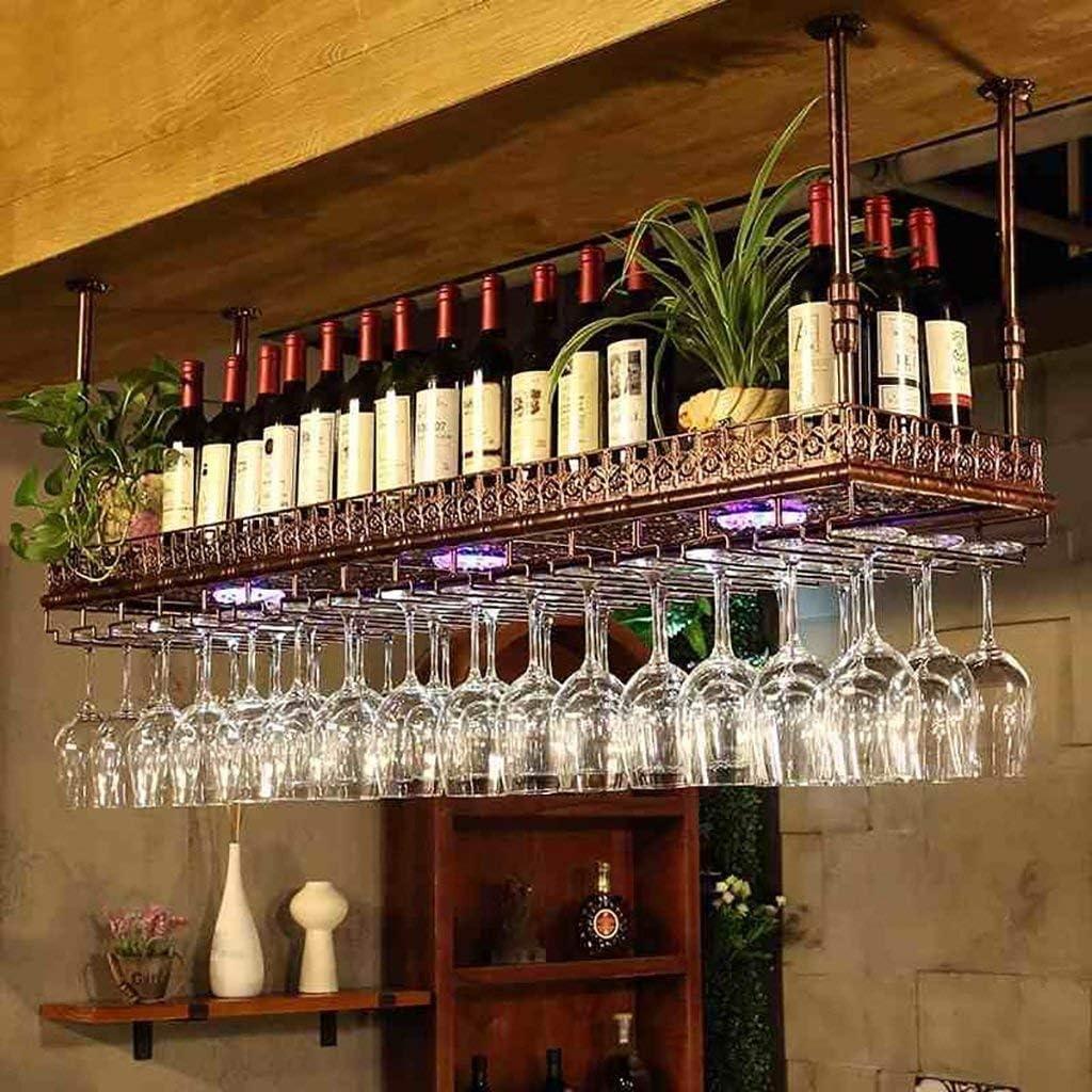 YSDHE ワイングラスホルダー逆さまワインシンプルなスタイルアイアンバーのワイングラスラック天井装飾棚をぶら下げ、レストラン、キッチンラック(色:ブロンズ、サイズ:80 * 35センチメートルを)