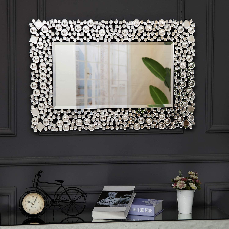 Miroirs Decoration Fix/é au Mur pour Salon Cuisine Couloir Chambre RICHTOP Miroir Murale Grand Rectangulaire Moderne Bois Noir Design avec Cristal Scintillant Argent/é Miroir Maquillage 60 X 90 CM