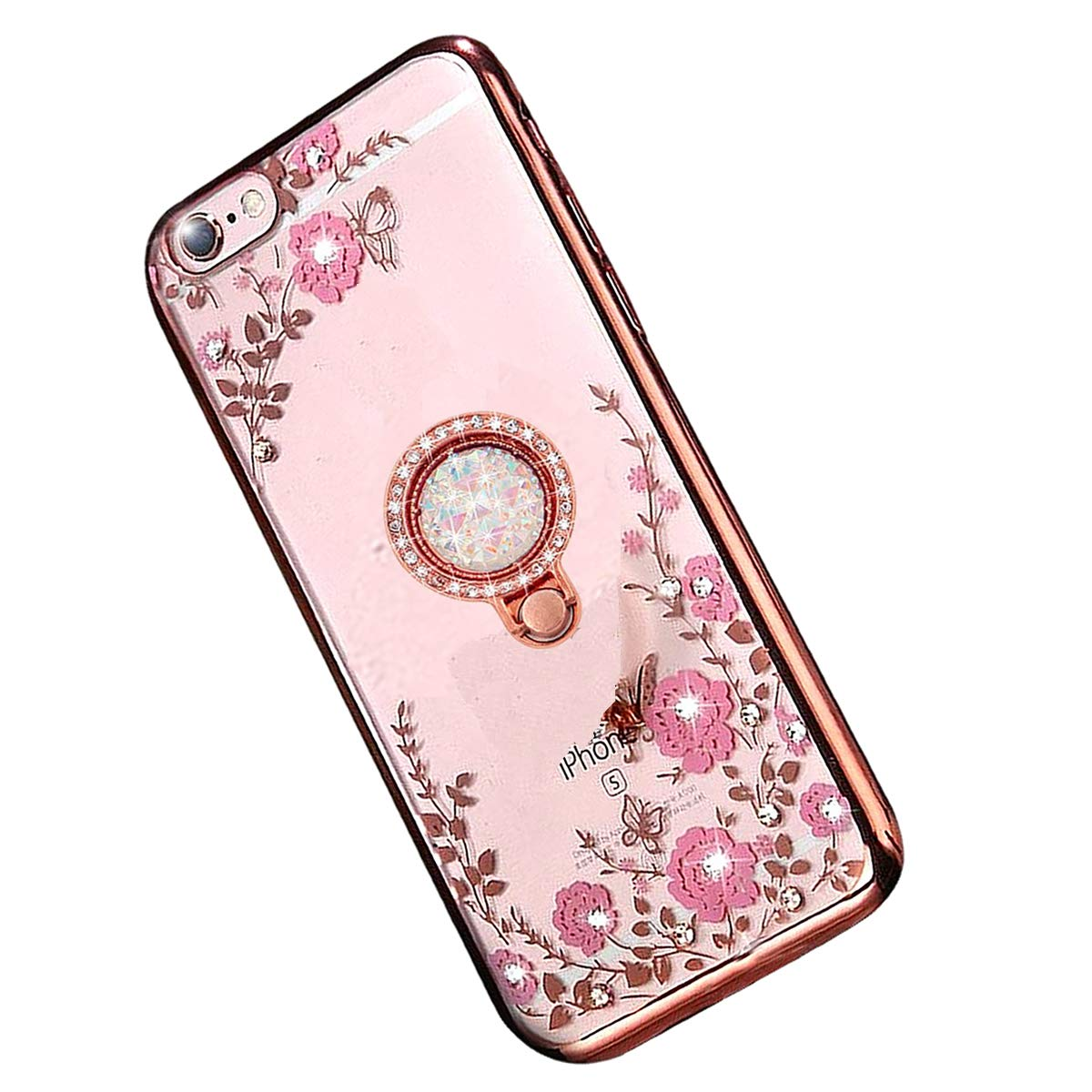 Miagon Bling Glitter Crystal Clear Flower Butterfly Electroplating Soft Silicone Case with Shining Diamond 360 Degree Ring Kickstand Cover for Huawei Mate 20 Lite