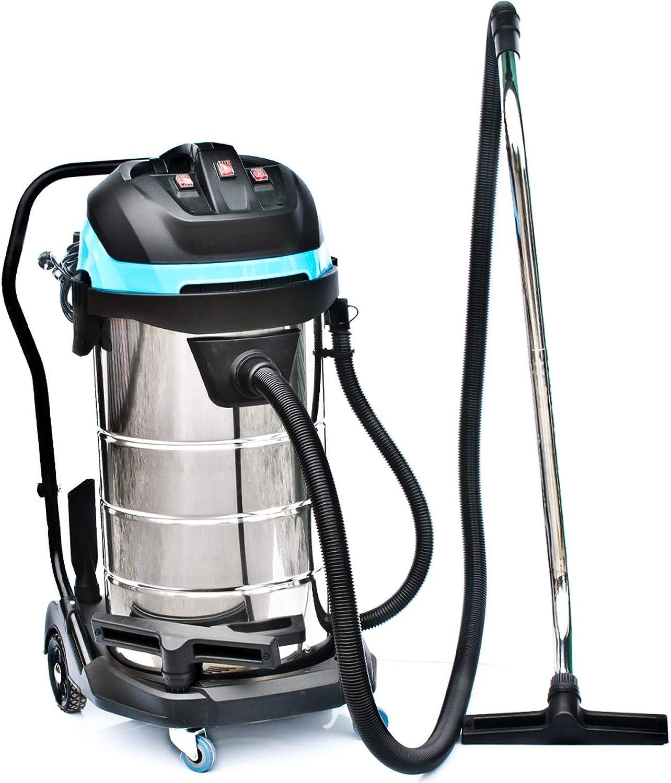 Bautec - Aspiradora industrial de 100 litros, Acero inoxidable ...