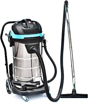 Bautec - Aspiradora industrial de 100 litros, Acero inoxidable, 3400 W, manguera de 5 metros, boquilla, aspiración en húmedo y en seco, sin bolsa: Amazon.es: Bricolaje y herramientas