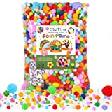 Caydo 2200 Pieces Assorted Pompoms Include 200 Pieces Wiggle Eyes, Multicolor Glitter Pom Poms for Halloween Hobby, DIY…