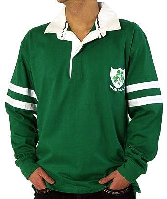 I Luv LTD Mens Rugby Shirt Ireland Two Stripe Green Long Sleeve ...