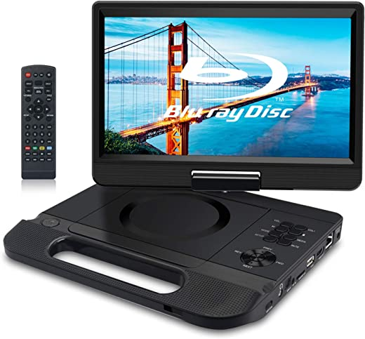 FANGOR 12.5″ 1080P Portable Blu-Ray Player with 10.5″ HD Swivel Screen, HDMI Out & AV in, Multi Media Player, 5 Hours Rechargeable Battery,…