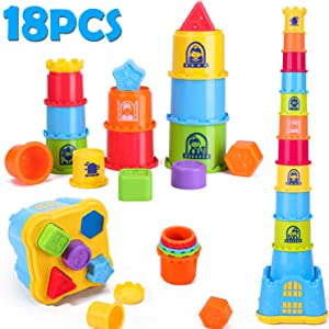 iPlay, iLearn Baby Stacking, Nesting and Sorting Cups, Counting Toys, Indoor, Outdoor, Bath, Beach, Educational Development Gift for 12, 18 Month, 1, 2, 3 Year Old Infant, Toddler, Boy, Girl, Kids