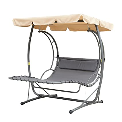 Outsunny Double Chaise Lounge Chair Hammock Swing W/ Canopy Cover   Beige /  Grey