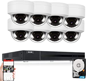 Anpviz 8CH 5MP PoE Home Security Cameras System with 2TB HDD, H.265 4K 8-Channel NVR Security System and 8pcs 5MP Outdoor Weatherproof 98ft Night Vision PoE IP Cameras with Audio for 24/7 Recording