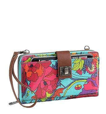 08b649935 Sakroots Artist Circle Large Smartphone Cross-Body Phone Wallet (Aqua Flower  Power)