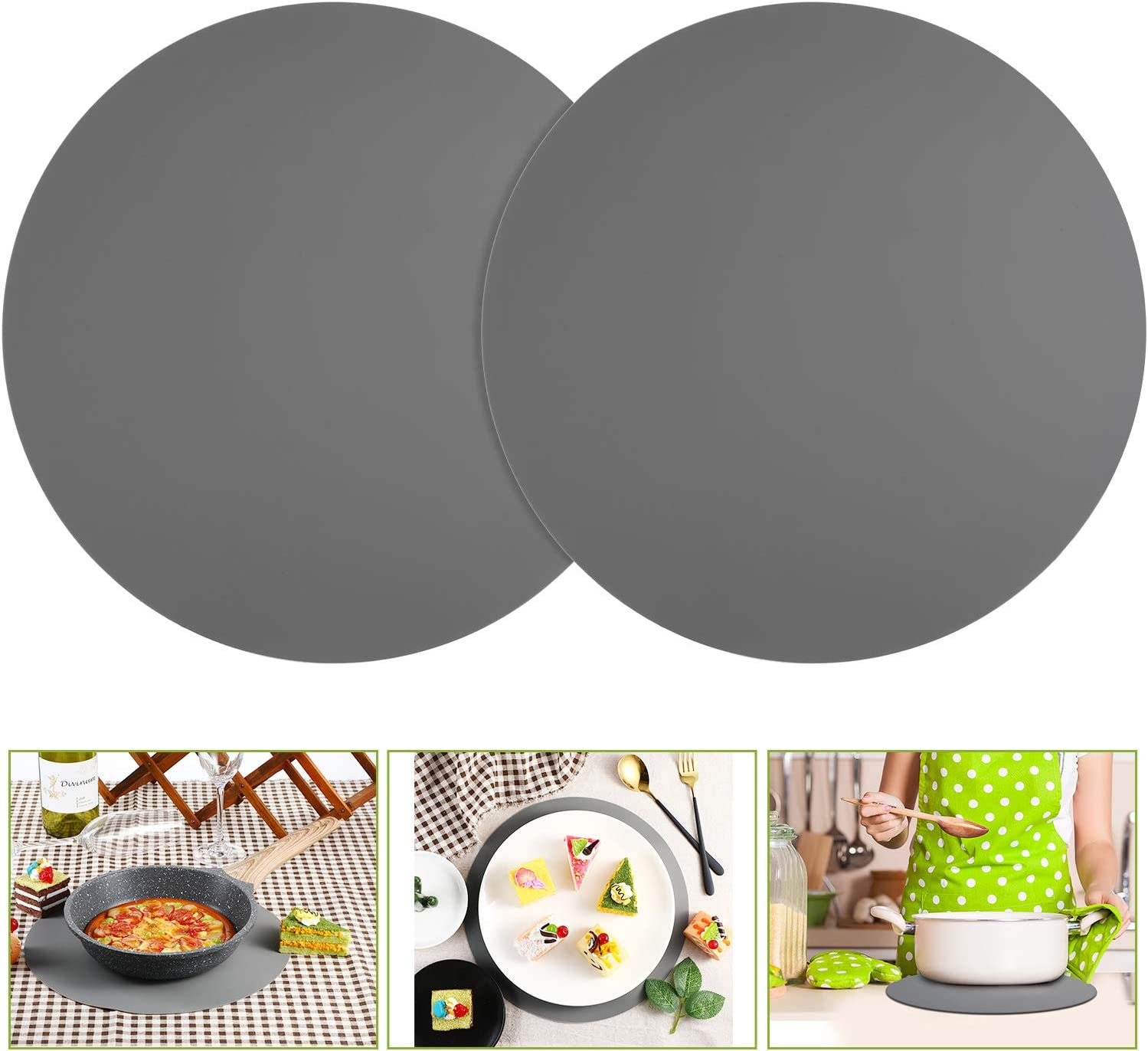 2 Pack 12 Inch Silicone Microwave Mat Non-Stick Oven Mat Microwave Turntable Mat (Grey)