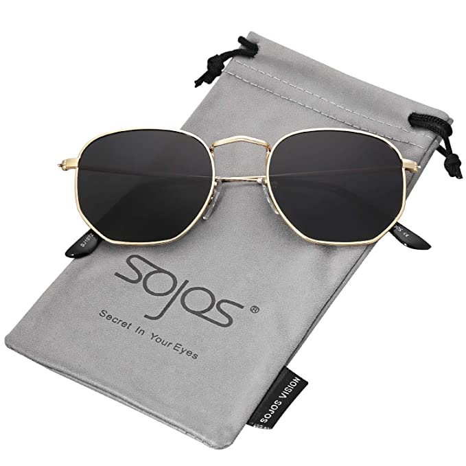 43c2ecc12fd0 SOJOS Small Square Polarized Sunglasses for Men and Women Polygon Mirrored  Lens SJ1072 with Gold Frame