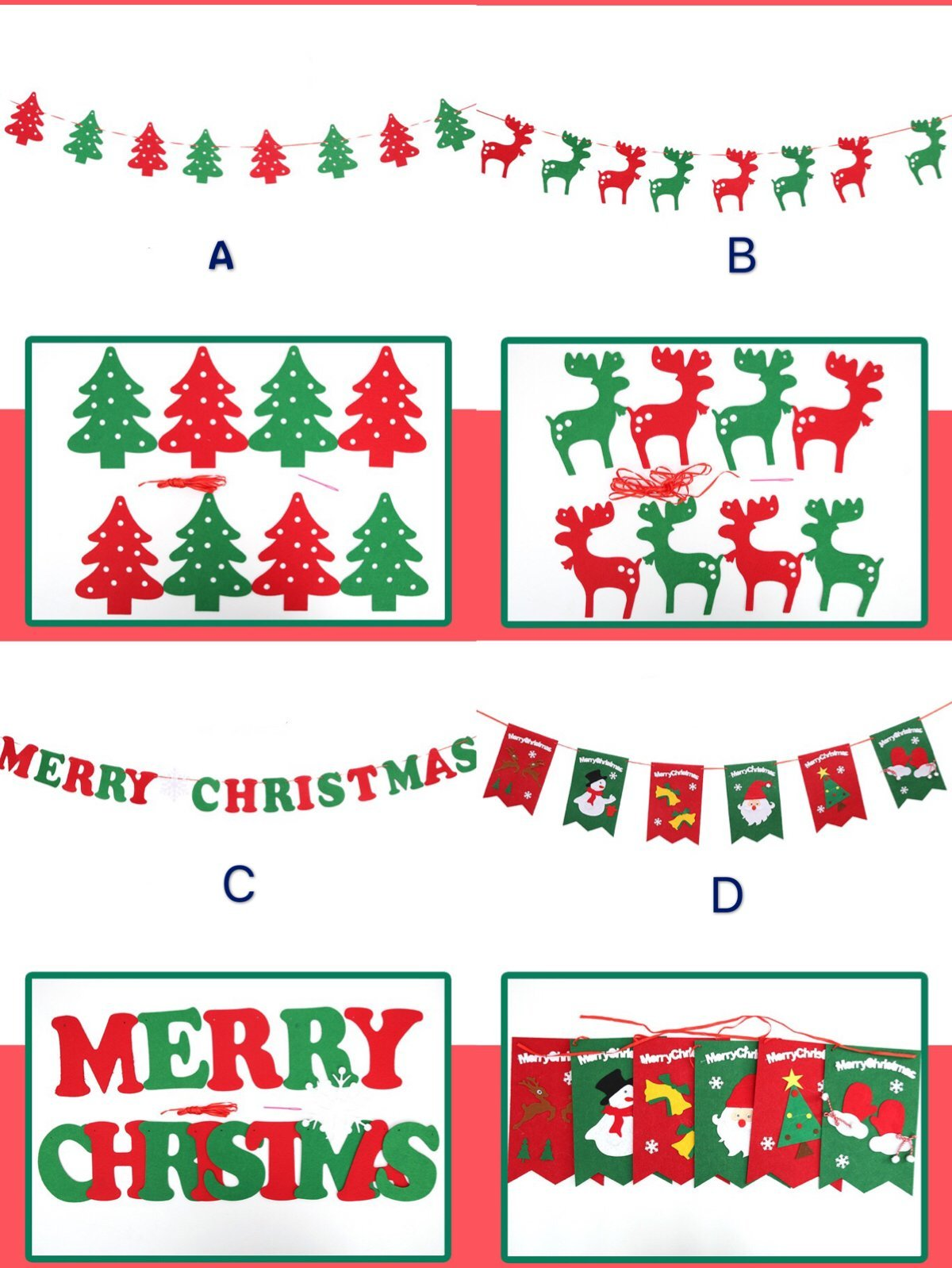 LareinaXXX Christmas Pull Flag Xmas Gifts Hanging Flag Bunting Home Party Window Tree Wall Decor Banners(4pack)