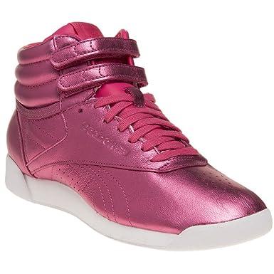 6e1eb45dc69a2 Amazon.com  Reebok Freestyle Hi Metallic Womens Sneakers Pink  Clothing
