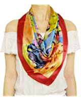 TONY & CANDICE Women's Graphic Print 100% Silk, Silk Scarf Square , 33X33 Inches