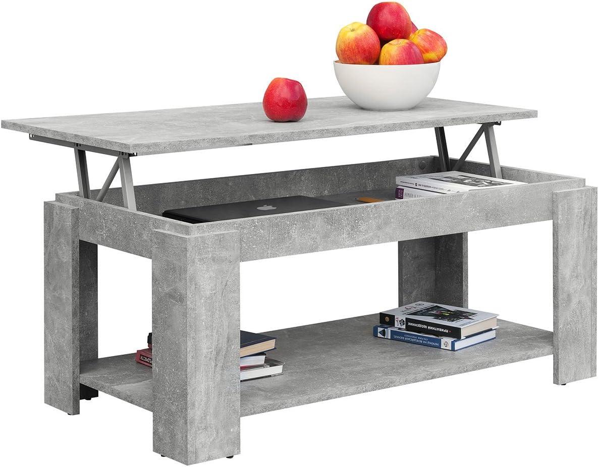 Nieuwe Manierstijl Van Comfort, in hoogte verstelbare salontafel met geïntegreerde krantenstandaard, afmetingen: 100 x 50 x 43/55 cm modern Eiken Sonoma Steen CZIxh1j