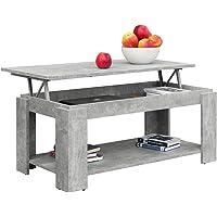 Comifort Table basse relevable avec porte-revues intégré, 100x 50x 43/55cm