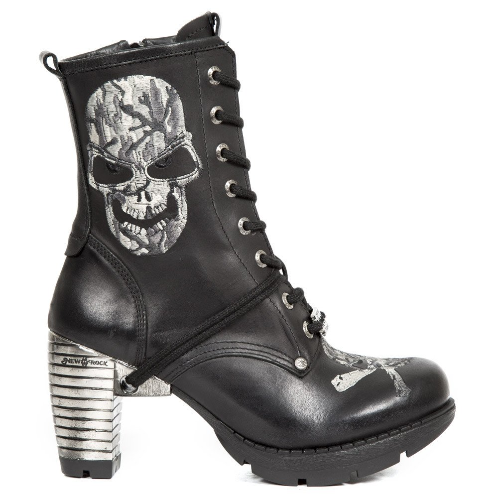 New Rock Shoes - Women's Black Lace Up Boots with Embroidered Skull UK 4 / Black