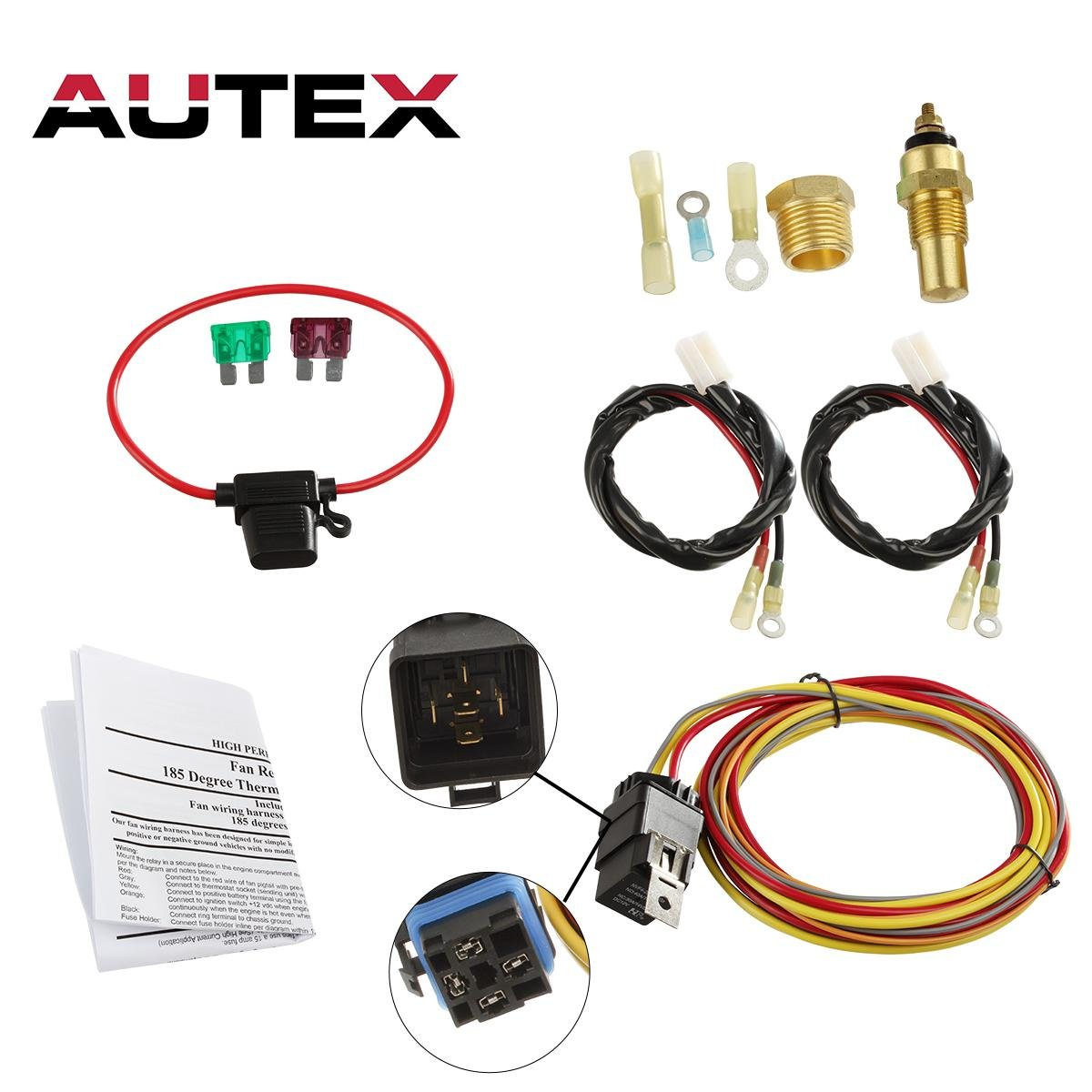 AUTEX NEW Dual Electric Cooling Fan 185 Degree On 165 Off Engine Fan on cooling thermostat wiring, thermostat relay circuit diagram, trane heat pumps thermostat wiring, 240v thermostat wiring, honeywell thermostat wiring, thermostat wiring color code, thermostat transformer, 24 volt thermostat wiring, thermostat mercury wiring, heat cool thermostat wiring, york heat pump thermostat wiring, thermostat to furnace relay, house thermostat wiring, 2 stage heat pump thermostat wiring, thermostat controlled heat lamp, wood stove thermostat wiring, boiler thermostat wiring, diy thermostat wiring, thermostat relay control, thermostat c wire,