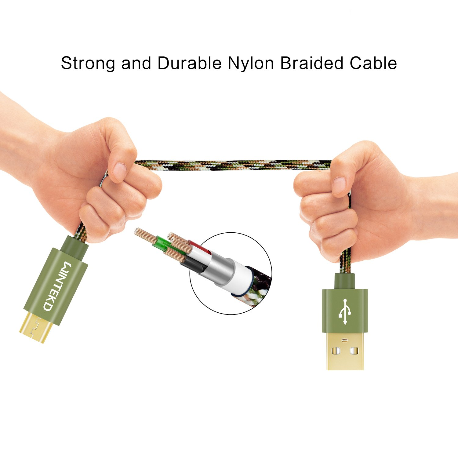 Micro USB Android Cable, WINTEKD [2-Pack 6.6ft] Premium Nylon Braided High Speed USB to Micro USB Charging Cord Android Fast Charger for Samsung Galaxy S7/S6/S5/Edge,Note 5/4/3,HTC,LG - (Camo Green)
