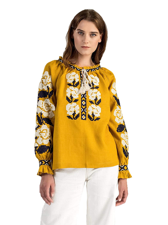 Yellow ETNODIM Ukrainian Ethnic Embroidered Linen Shirt Yellow Vyshyvanka Long Sleeve orange Tops Modern bluee Blouse