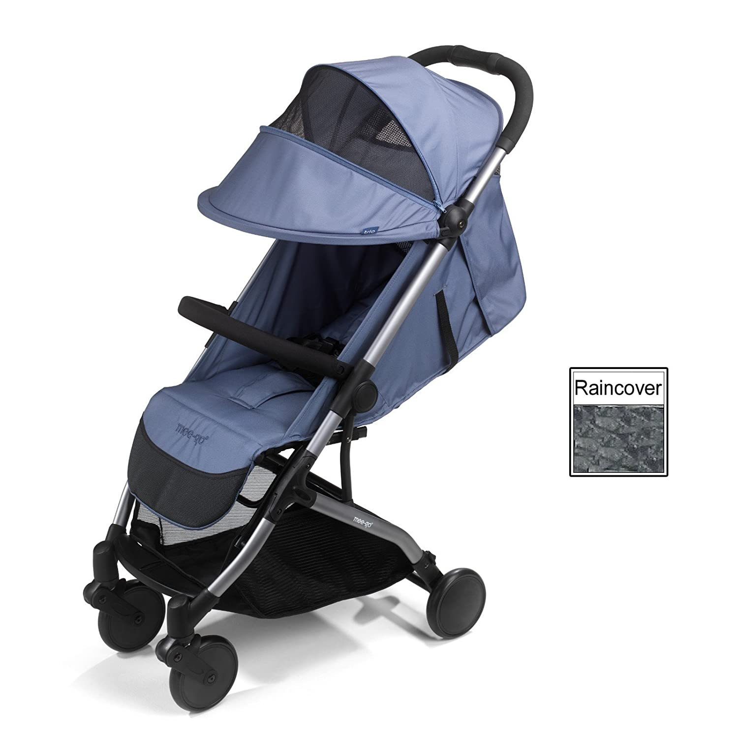 Mee-Go Trio Tri-Fold Stroller - Ultra Lightweight Weighs only 7kgs - Includes Raincover - Slate Blue on Gun Metal Grey Chassis