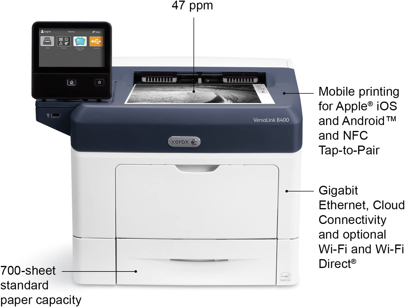 Xerox VersaLink B400/DN Monochrome Printer, Amazon Dash Replenishment Enabled