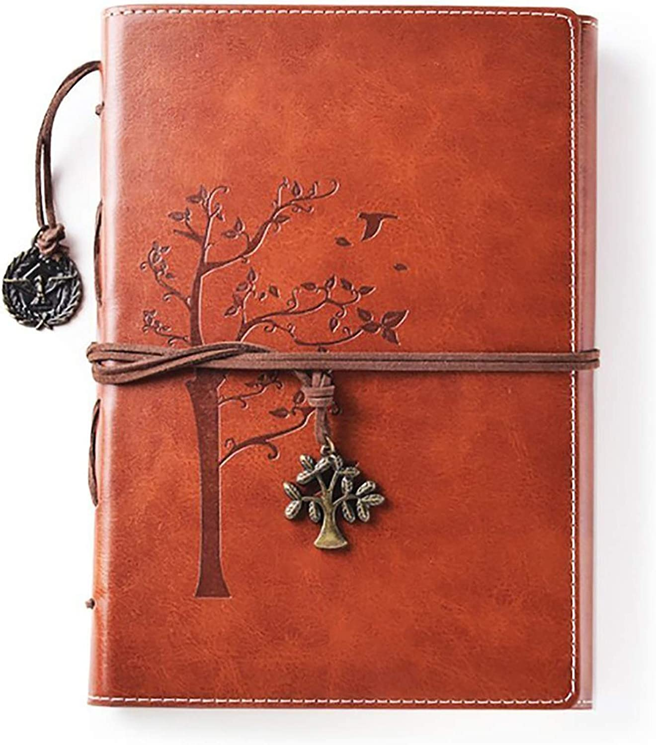 Blank Faux Leather Writing Journal- Tree of Life Refillable Personal Diary -Brown Vegan leather Notebook with Unlined A5 Slim Pages–Vintage Writing Gifts for Men & Women, Travellers, Writers